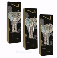 Elephant Bottle Gift Bags, Gold Foil Art Embossed, Pack of 3